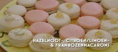 Heel holland bakt Hazelnoten, citroen/limoen en rozenwater frambozen macarons.