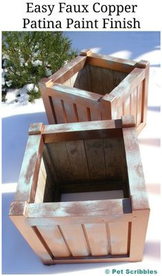 Transform old wooden planter boxes with an easy faux copper patina paint finish! Complete DIY!