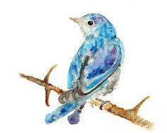 Watercolor Bird, Blue Bird Art,  Blue Decor, bird art print, Blue Wall Art - Puff of Blue, 8x10 print by LightheartedDreamer for $17.00  -  zibbet, like etsy.  i like it.     lj