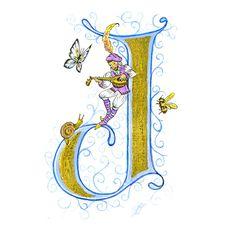 Enluminure de Jane Sullivan, Calligrafée                                                                                                                                                                                 Plus Caligraphy Alphabet, Alphabet Art, Letter Art, Letter Writing, Illuminated Letters, Illuminated Manuscript, Doodle Lettering, Typography, Vintage Valentine Cards
