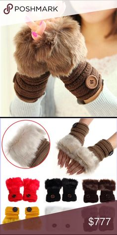 Winter Fingerless Gloves Warm luxury wool faux rabbit fur wrist fingerless gloves. Great for us ladies that are always Poshing away. Color Coffee. Please check out other items in my closet. Price Firm Unless Bundled Accessories Gloves & Mittens