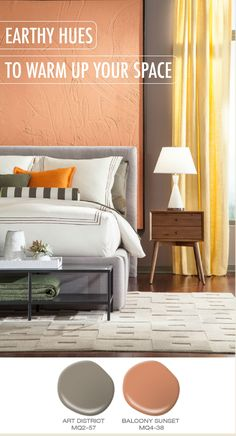 Try using earthy hues like Art District and Balcony Sunset to warm up your space. These orange and gray BEHR paint colors work beautifully to create a relaxing and comfortable living room, bedroom, or home office.
