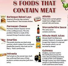 Did you know these products contained meat?  Be smart when you shop and SHARE with your vegetarian friends. Knowledge is power!