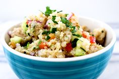 This Chicken Quinoa is packed with protein and gluten free!  Tastes delicious eaten hot or cold!