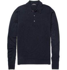 John Smedley Dorset Long-Sleeved Merino Wool Polo Shirt | MR PORTER