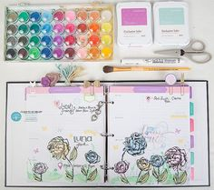 CTMH Everyday Life™ Planner decorated with watercolour paint, January Stamp of the Month Beloved Bouquet