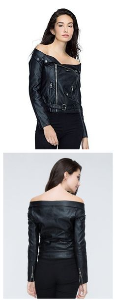 Women's Black Off Shoulder Zip Up Faux Leather Motorcycle Jacket Coat