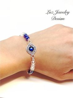 Blue eye bracelet, blue stretching bracelet, blue crystal bracelet, blue and white bracelet, blue eye bracelet, evil eye bracelet stretching – Luzjewelrydesign