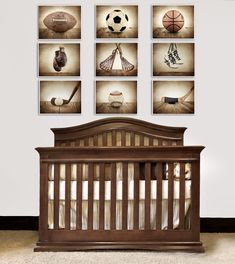 "big boy room idea - vintage ""rustic"" sports decor"
