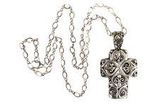 Sterling Silver, Holy Cross, Necklace, Christian Jewelry, Devotional, Pendant, Filigree, Boho
