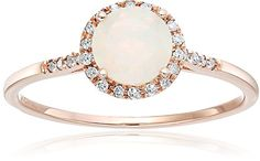 10k Rose Gold Ethiopian Opal and Diamond Classic Princess Di Halo Engagement Ring (1/8 cttw H-I Color I1-I2 Clarity) Size 7