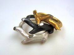 sterling silver twig rings - can be worn stackedgold plated, oxidized or silver - lovely presents or for yourself!