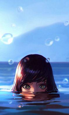 Swim, girl, drops, face, art, 480x800 wallpaper