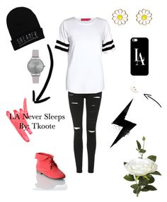 LA Never Sleeps by tkoote on Polyvore featuring polyvore, fashion, style, Boohoo, Topshop, Breckelle's, Charlotte Olympia, Olivia Burton, Monsoon, Casetify, Ilia and OKA