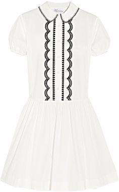 REDValentino Redvalentino Embroidered Cotton-Poplin Mini Dress
