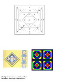 """Quilt Square 018 Iris Folding Pattern on Craftsuprint designed by Margaret Jones - Use the same technique as Iris Folding - just follow the numbers. You don't have to cut out a complicated template - just a 4"""" (or whatever size you like) square. Make a card for a quilter. Sheet includes pattern, a sample card, and a digital rendering of the pattern made up as a """"four-square"""" wall hanging. - Now available for download!"""
