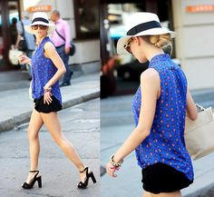 Persun Irregular Neck Chiffon Shirt, Zara Short, Stradivarius High Heel Platform Sandals, Parfois Hat, Zara Bag