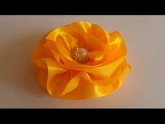 Flor de Fita De Cetim ! Satin Ribbon Flower - YouTube