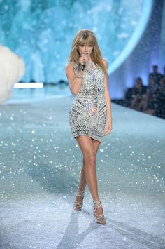 Snow Angel or Disco Ball? Either way, Taylor Swift owns the runway.