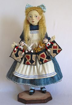 Pocket Alice by Lucia Friedericy and her mother Julia - Alice is a 19 inch wax-over-porcelain doll