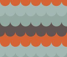 waves_aqua_orange fabric by holli_zollinger on Spoonflower - custom fabric