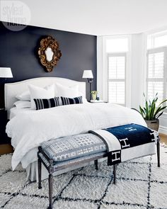 This master bedroom echoes the rest of the home's light-meets-dark and modern-meets-traditional themes. See photos of the whole house at… Cozy Bedroom, Dream Bedroom, Home Decor Bedroom, Bedroom Ideas, Bedroom Rustic, Dark Accent Walls, Accent Wall Bedroom, Navy Bedroom Walls, Dark Gray Bedroom