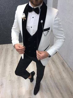 Collection: Spring – Summer 2020 Product: Slim Fit Tuxedo Color Code: White Size: Suit Material: satin fabric, lycra Machine Washable: No Fitting: Slim-fit Package Include: Jacket, Vest, Pants Gifts: Flower, Chain and Bow Tie Dry Clean Only Slim Fit Tuxedo, Tuxedo For Men, Groom Tuxedo, Groom Suits, Tuxedo Suit, Mens Fashion Suits, Mens Suits, Shawl Collar Tuxedo, Tuxedo Colors