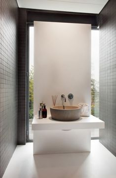 """I Fiumi"" wash Basin for Boffi - private house by pitsou kedem architect. Spa Like Bathroom, Bathroom Toilets, Laundry In Bathroom, Bathroom Interior, Modern Bathroom, Small Bathroom, Budget Bathroom, Basement Bathroom, Minimalist Bathroom"