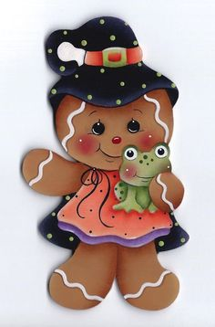 Halloween, Ginger Witch with Frog Gingerbread Ornaments, Gingerbread Decorations, Gingerbread Man, Christmas Ornaments, Halloween Clipart, Halloween Cards, Fall Halloween, Halloween Decorations, Tole Painting