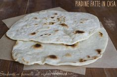 Recipe to make Piadine Romagnole Antipasto, Crepes, Focaccia Pizza, Light Recipes, Creative Food, I Love Food, I Foods, Food Inspiration, Italian Recipes