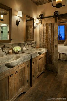 15 Dreamy Sliding Barn Door Designs is part of Rustic bathroom designs 15 Dreamy Sliding Barn Door Designs that are sure to inspire! Rustic Bathroom Designs, Rustic Bathroom Decor, Bathroom Ideas, Barn Bathroom, Bathroom Plans, Vanity Bathroom, Bathroom Cabinets, Basement Bathroom, Bathroom Doors