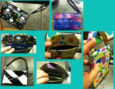 My Duck Tape Mini Purses... The Skull one and the tie-dye one both have an added pocket inside, while the Black & White has two thin pockets and a wider center pocket that fits an iPhone.