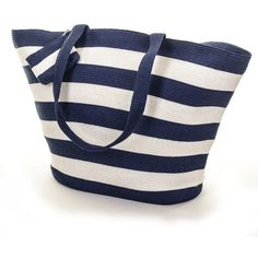 Navy and White Striped Bag ($59) ❤ liked on Polyvore featuring bags, handbags, beach bags, striped purse, mini purse, beach bag, nautical handbags and mini backpack purse