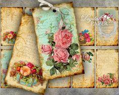 Flor Etiquetas - hoja collage digital - conjunto de 10 - para imprimir Descargar