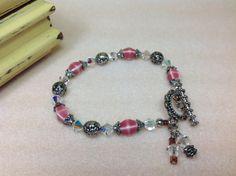 Pink Porcelain Bead Bracelet Swarovski Crystal by JewelryCharmers, $25.00