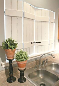 Energy Efficient Home Upgrades in Los Angeles For $0 Down -- Home Improvement Hub -- Via - 19 DIY Window Treatments to Update Your Space: Upcycled Kitchen Shutters DO THIS FOR ALL THE WINDOWS IN THE HOUSE