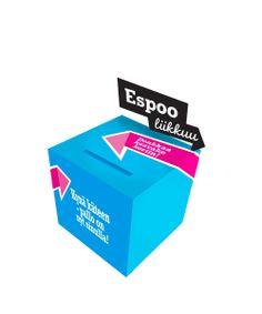 Espoo liikkuu -ilmeellä tehty palautelaatikko / Mainostoimisto RED / Syksy 2013