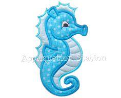 Seahorse Applique Machine Embroidery Design Pattern Download blue boy or girl nautical ocean fish  baby animal beach Sea Horse. $3.50, via Etsy.