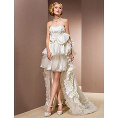 Two-In-One A-line Princess Sweetheart Asymmetrical Organza And Taffeta Wedding Dress With Removable Train – USD $ 599.99