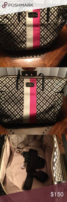 Kate Spade Diaper Bag This bag is like new there is no marks on  it was never used !!! Excellent condition !!! My daughters never carried it !!!! Cloth with black and white and pink colors!!! Leather straps kate spade Bags Baby Bags