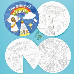 The Life Of Jesus Story Wheels - Learn about key events in the life of Jesus! Pre-printed wheel to colour in and assemble, before spinning to learn about each event, from Jesus' birth to his resurrection. Size 23cm. Colour with fibre tip pens and pencils.