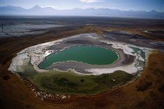 Un lago salato in pieno deserto: è la Laguna Cejar, a 20 km da San Pedro di Atacama nel cuore dell'omonimo deserto di sale in Cile. A 2.300 metri di altitudine, appare come un turchese incastonato tra cristalli bianchi.