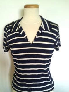 RALPH LAUREN POLO SPORT WHITE AND NAVY NAUTICAL STRIPE KNIT TOP $29.99