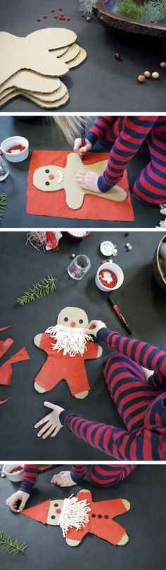 Cardboard Christmas doll craft for kids to create and decorate their own Christmas characters.