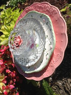 The pink back plate is from Portugal and goes so well with the precious green and white plate with pink roses. Love the soft look of this flower. MiMi's Plate Flowers