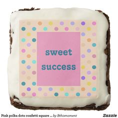 Pink polka dots confetti square brownie