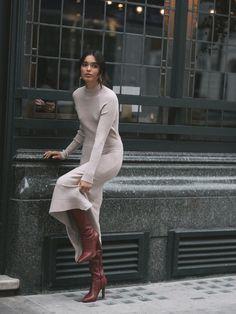 Parisian Style Fashion, Look Fashion, Fall Fashion, Fashion Black, Petite Fashion, Classy Fashion, Hipster Fashion, Knit Fashion, Fashion Design