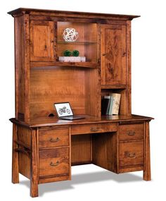 Amish Artesa Desk with Hutch Top Here's a desk you'll love working at. Stunning in solid wood, the Artesa offers plenty of storage, display and work space. Custom made in choice of wood, stain and hardware.