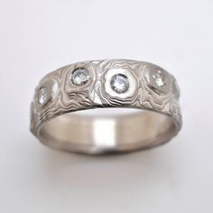 Wide Guri Bori Mokume Gane Wedding Band with Moissanite in Palladium and Sterling Silver with etched finish