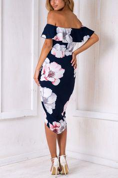 Sexy Random Floral Print Off Shoulder Irregular Hem Tiered Dress from mobile - US$17.95 -YOINS